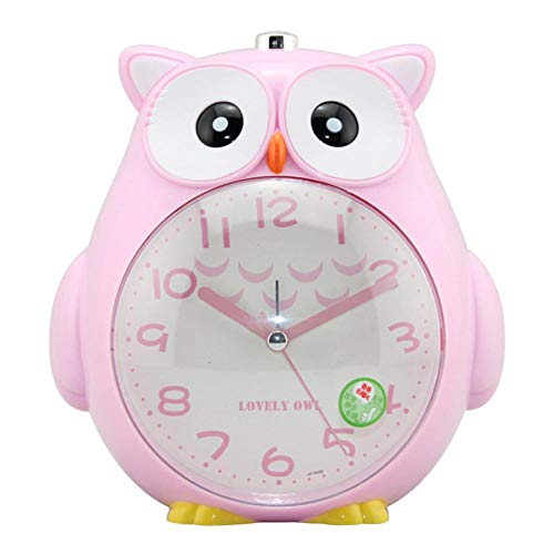 su-xuri Reloj despertador para niños: lindo búho, con suave luz de noche, alarma sonora para el dormitorio, cama para niños, reloj con función de repetición workable