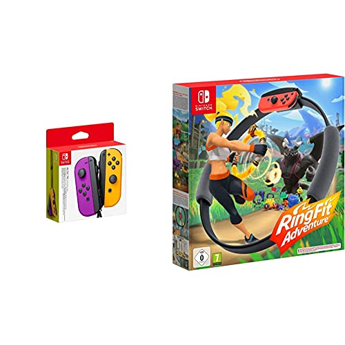 Nintendo Joy-Con 2er-Set, neon-lila/neon-orange & Ring Fit Adventure - [Nintendo Switch]