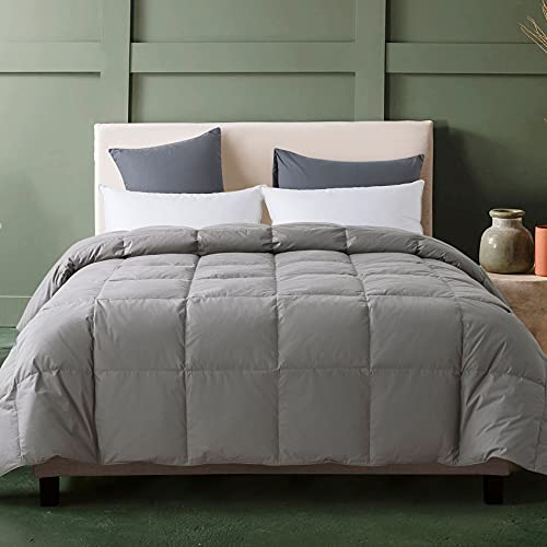 Down Comforter King, Grey Lightweight Comforter, Goose Duck Down and Feather Filling, 100% Cotton Shell Duvet Insert, 102X90 Inch