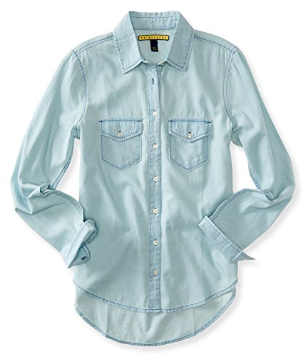 AEROPOSTALE Womens Washed Denim Button Up Shirt, Blue, X-Small