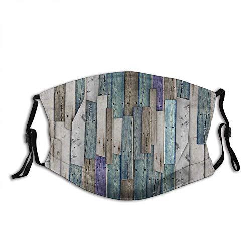 BDGAjdka Komfortable Aktivkohle Rustikal, Bild von blau grau Grunge Holzplanken Scheune Haus Türnägel Country Life Theme Print, grau blau, Outdoor-Gesichtsdekorationen