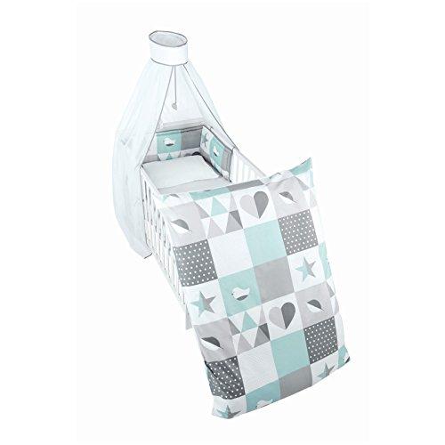 roba Kinder-Bettgarnitur 4-tlg, Babybett-Ausstattung 'Happy Patch mint', Bettset mit Applikation, Bettwäsche 100x135 (Decke & Kissen), Nestchen, Himmel