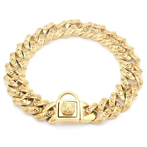 MINI SHOW 32 Mm Große Goldkette, Bulldoggen-Hundering, Mittlere Und Große Hundekette, Halskettenhalsband Aus 24 Karat Goldenem Edelstahl,Gold,32MM*65CM