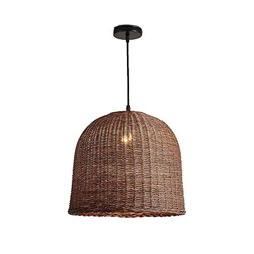 Lámpara colgante E27 de ratán para isla de cocina, accesorios de iluminación de techo, lámpara colgante, lámpara de araña de ratán tejida a mano, pantalla de bambú, mesa de comedor, restaurante, marró
