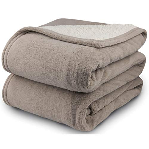 Biddeford 2061-9052140-700 MicroPlush Sherpa Electric Heated Blanket Full Taupe
