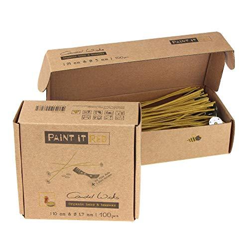 Kerzendochte paraffin-frei | Nachhaltig aus Bienenwachs und Hanf | 100 Dochte gewachst mit Fuß | Set mit Klebepunkten und Dochthalter | Verschiedene Längen und Durchmesser