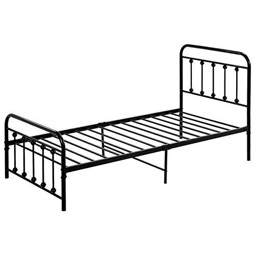 PovKeever - Cama de metal, cama individual moderna base de colchón de plataforma de 3 pies, estilo europeo con cabecera y estribo, color negro