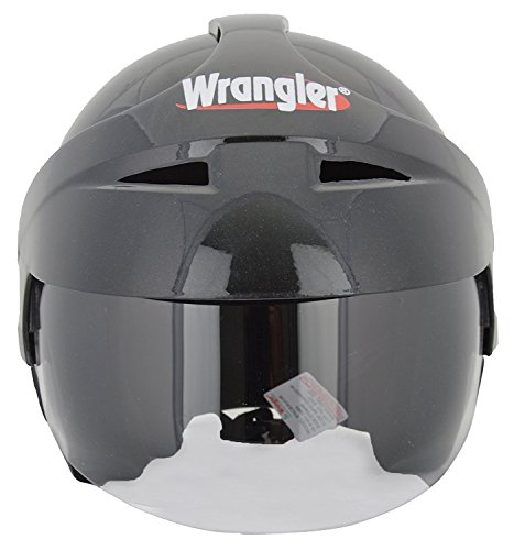 Wrangler Endeavor Modified Open Face Helmet with Aerodynamic Cap and Visor (Black,...