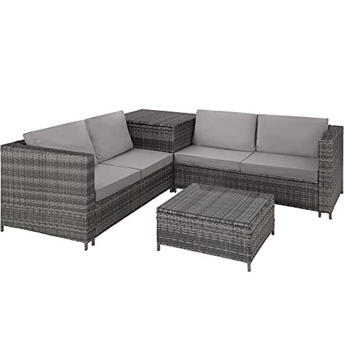 TecTake 800678 Conjunto de Muebles de Jardín de Ratán, 2 Sofás 1 Mesa 1 Caja de...