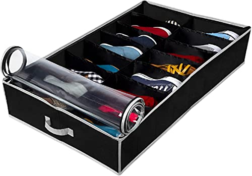 Extra-Large Under Bed Shoe Storage Organizer - Underbed Storage Solution Fits Men's and Women's Shoes, High Heels, and Sneakers with Durable Vinyl Cover & Extra-Strong Zipper - Black
