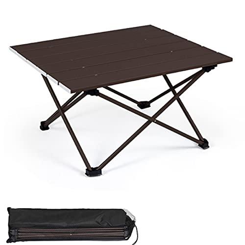 YAHAO Mesa de Picnic Plegable,Aleación de Aluminio Portátil Plegable Camping Mesa Al Aire Libre Muebles Mesa de Escalada Plegable Mesa de Picnic de Viaje,Brown-Small
