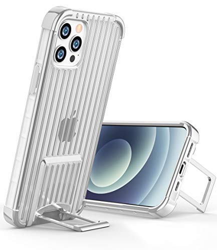 OCYCLONE [Suitcase Series] for iPhone 12 Pro Case/iPhone 12 Case, [Two-Way Stand] Anti-Slip Anti-Scratch Shockproof Protective Phone Case with Kickstand for iPhone 12/12 Pro 5G 6.1 inch - Silver
