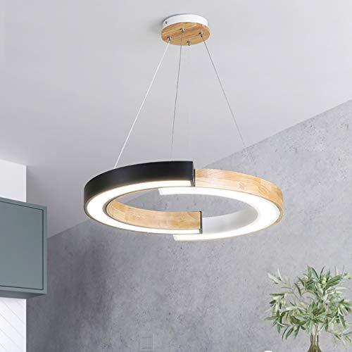 LED hanglamp Moderne houten ring hanglamp rond eettafel acryl lamp keuken verlichting in hoogte verstelbaar eetkamer decoratieve lamp van hout koud wit 6000 K
