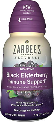 Zarbee's Naturals Nighttime Black Elderberry Immune Support Highly Concentrated Syrup with Melatonin, 8 oz Bottle