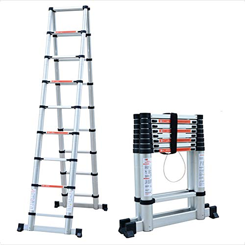 BLWX LY-Step kruk Aluminium Extension Ladder, Multi-Purpose Aluminium Telescopische Ladder Draagbare Opvouwbare Ladder Extension Extend Ladder (2m-3.8m(A-Frame))