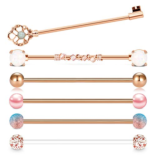 QWALIT Industrial Barbell Earrings 14G Surgical Stainless Steel Opal Heart Scaffold Industrial Piercing Jewelry Clear Retainer Bar 35mm 38mm for Women Men Rose Gold