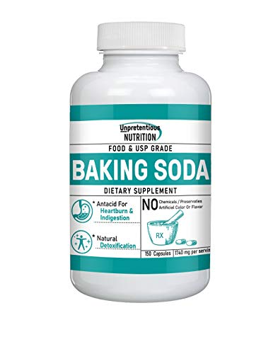 Baking Soda Capsules,by Unpretentious Nutrition, Sodium Bicarbonate Antacid, for Acid Indigestion & Heartburn (1740 mg/Serving)