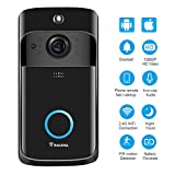 Video Doorbell Wireless Doorbell Camera IP5 Waterproof HD WiFi Security Camera Real-Time Video for iOS&Android Phone, Night Light (Black)