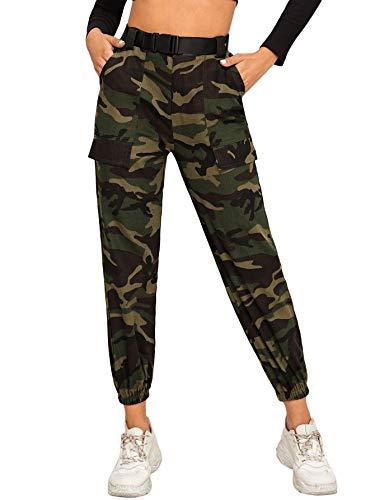 SOLY HUX Damen Sport Sweatshose Camouflage Gürtel Hosen Seiten Taschen Reißverschluss Laufhose Bunt Hosen Sporthose Capris Jogger Pants Farbe 14 M