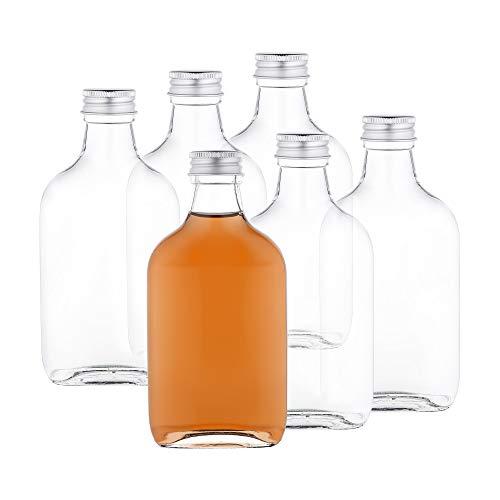 MamboCat 6er Set Taschenflasche 200 ml I Silberne Schraubdeckel I XL-Flachmann I Likörflasche I Schnapsflasche I Fläschchen für Alkohol, Spirituosen, Essig & Öl