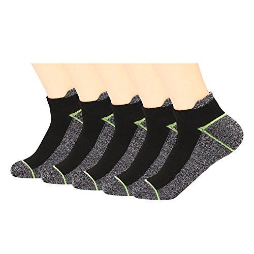 Kupfer Antibakterielle Athletic No Show / Low Cut Socken für Männer und Frauen, Schwarz/Gr¨¹n-5 Pairs, Shoe M:34-44 EUR