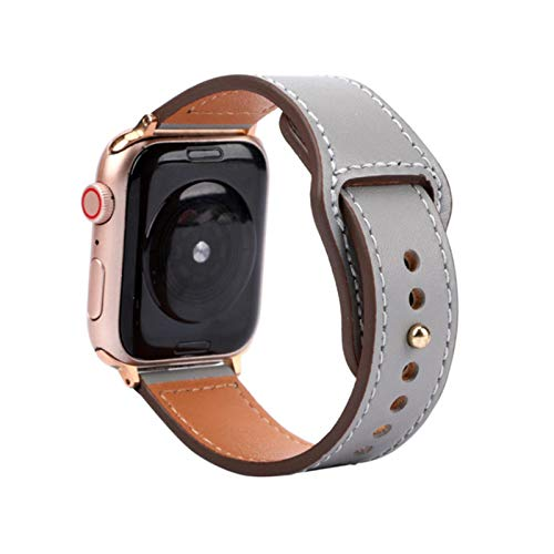 Correa para Apple Watch Band 38MM 42MM 40MM 44MM Correa de reloj de cuero para Iwatch 3/2/1 para Apple Watch 4/5 Accesorios de reloj-Gris, para 38MM y 40MM