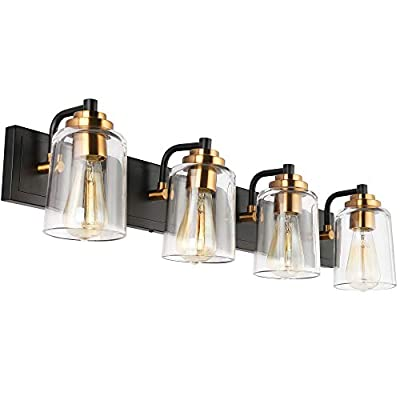 SOLFART Black with Bronze Vintage Vanity Lighting Fixtures for Bathroom, Black with Bronze Wall Lamp Sconce 4 Lights