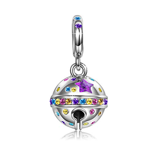 NINAQUEEN Bell Ball Bead Charms 925 Sterling Silver Charms Fit Pandora Bracelets Star Dangle Charm...