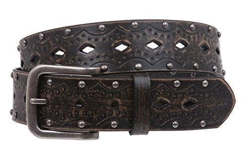 Cinturón de Jean con tachuelas vintage en relieve a presión, Negro, L/XL (Ropa)