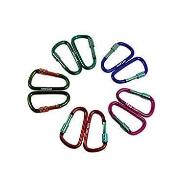 Gold Lion Gear Aluminum Carabiner D Shape Buckle Pack, Keychain Clip, Spring Snap Key Chain Clip Hook Screw Gate Buckle -Pack of Assorted Color Carabiners (Multi-Color, 5 Locking Carabiners)
