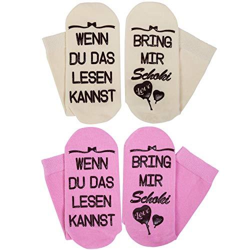Chalier 2 Paar Schokoladen Lustige Socken, Muttertags-Geschenke für Frauen, WENN DU DAS LESEN KANNST BRING MIR Schoki, Geburtstagsgeschenke für Frauen,Freundin,Schwester