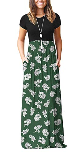 DEARCASE Women Round Neck Casual Short Sleeve Loose Floral Printed Maxi Dresses Long Dresses with Pockets Flower White Green X-Large
