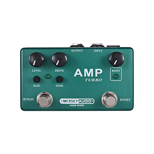 MOSKY AMP TURBO 2-in-1 Guitar Effect Pedal Boost + Classic Overdrive Effects Full Metal Shell with True Bypass
