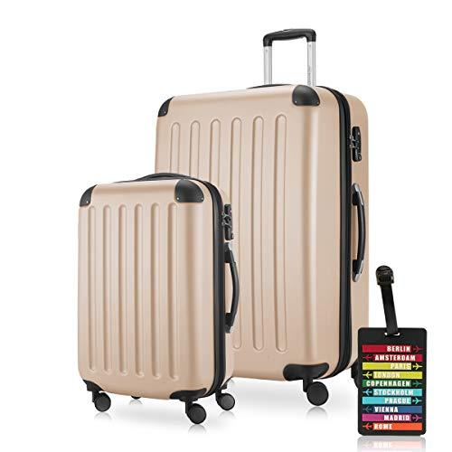 HAUPTSTADTKOFFER - Spree - Koffer-Set (1 x Handgepäck + 1 x Großer Hartschalenkoffer Rollkoffer 75 cm, 119 Liter) + Kofferanhänger, erweiterbarer Reisekoffer, 4 Rollen, TSA, Champagner
