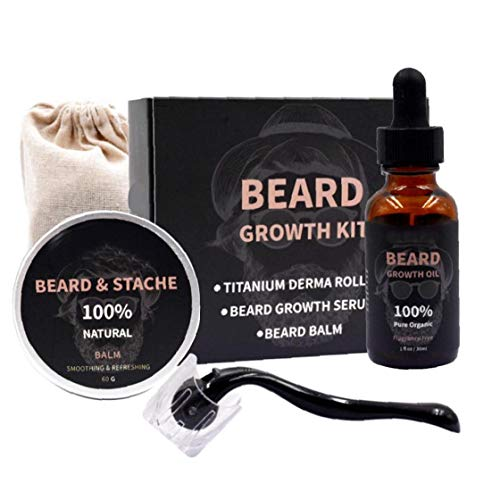 Hotaden Männer Beard Growth Kit, für Gesichtshaarwuchs Bart Pflegende Wachstum Ätherisches Öl Beard Pflege Supplies