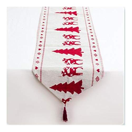 YIJTE Embroidered Table RunnerEuropean Table Runner Suitable for modern home (Color : Christmas tree, Size : 35x180cm)