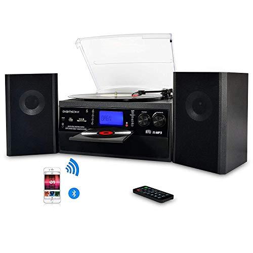 DIGITNOW! Plattenspieler mit Stereo Lautsprechern, Schallplattenspieler Kompaktanlage Stützen Bluetooth / CD / Kassettendeck / Radio / Vinyl to MP3 USB-Codierung / 33 45 78 U/Min / Fernbedienung