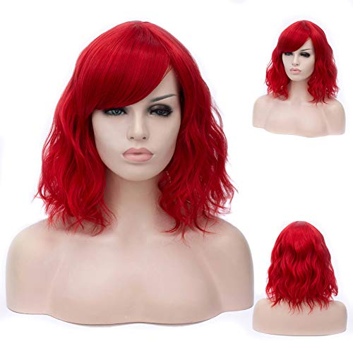 Short Red Wig For Women Girls ,Winshope Curly Wavy Natural Hair Wigs for Cosplay Costumes Halloween Party Heat Resistant Synthetic Fiber (Include Wig Cap)