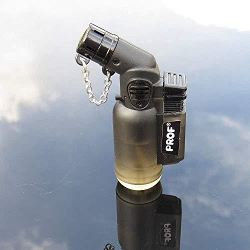 PROF Düsen-Feuerzeug mit abgewinkeltem Hals, Lötlampe, winddicht, elektronisch, nachfüllbar, Gas-Turbo, rot, blau, grün, schwarz