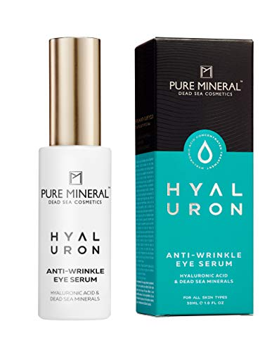 Pure Mineral Hyaluronsäure Augenserum mit Totes Meer Mineralien Vitamine E & B5 Anti-Falten Intensive Feuchtigkeits Spendende und Straffende Haut