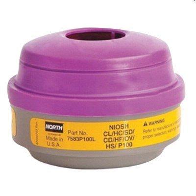 North by Honeywell 7583P100L P100 Combination Acid Gas and Organic Vapor Cartridges, Yellow/Magenta