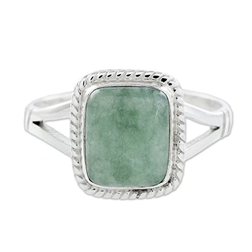 NOVICA Square Light Green Jade .925 Sterling Silver Cocktail Ring, Life Divine'