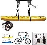 Elevador de Kayak para Almacenamiento en Garaje, polipastos de Canoa de 110 Libras de Capacidad, Soporte de polea Colgante para Techo Interior para Tabla de Remo, Tabla de Snowboard, Tabla de Surf,