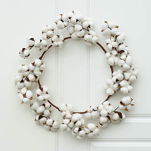 Lvydec Cotton Wreath Decor, 16'-20' Adjustable Cotton Stems Wreath with Full White Fluffy Cotton Bolls for Farmhouse Decor Front Door Wall Wedding Centerpiece