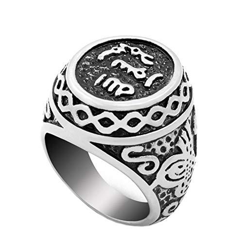 PAMTIER Stainless Steel Vintage Signate Muslim Islamic Arabic Shahada Ring Silver Size P 1/2