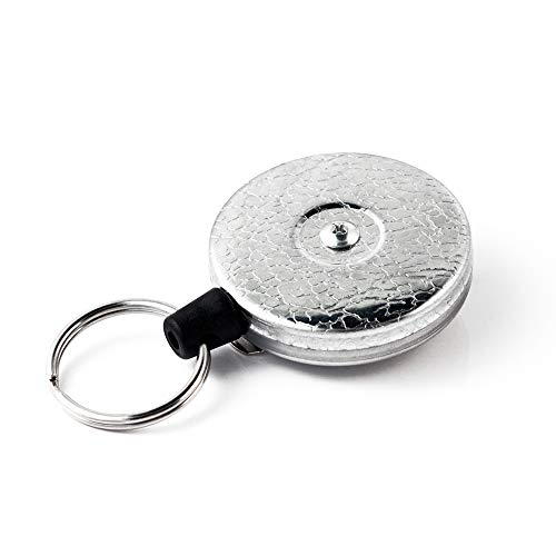 "KEY-BAK Original SD Retractable Keychain, 36"" Retractable Cord, Chrome Front, Steel Belt Clip, 13 oz. Retraction, Split Ring"