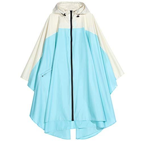 Spmor - Poncho impermeable con capucha para adultos con cremallera -  Azul -  Talla Única