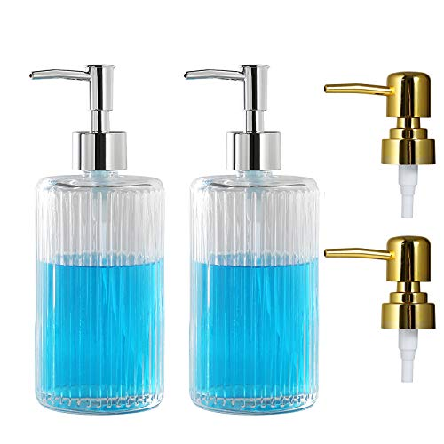 YOJOB Glass Soap Dispenser, 18 Ounces, Hand Soap Dispenser with 4 Pumps for Lotions, Liquid Soaps, Essential Oil, Soap Dispenser for Kitchen & Bathroom (Clear-2pick)