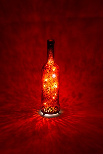Home&Decorations LED Original-Glas Laterne Flaschenlicht Flasche batteriebetrieben antik Rot Ø 8 cm × H 29cm