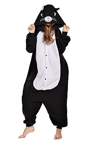 NEWCOSPLAY Black/White cat Costume Sleepsuit Adult Onesies Pajamas (M, Black Cat)